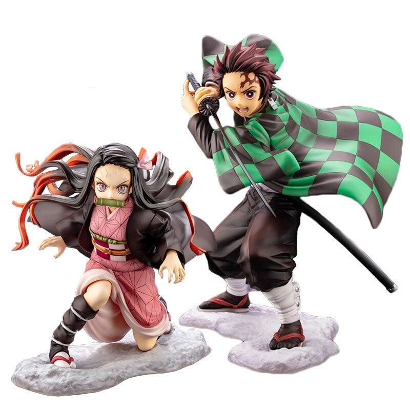 Anime Demon Slayer Figurine Nezuko Kimetsu no Yaiba Action Figure Kamado Tanjirou Zenitsu Kimono Figurine Nezuko Model Toys