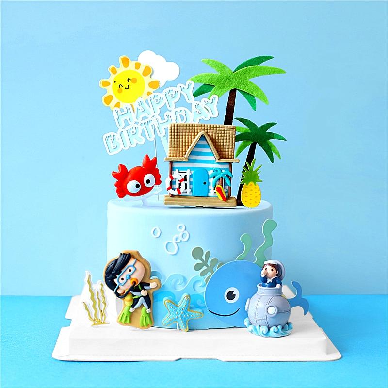 Décoration de gâteau danniversaire pour garçon, fête dété, poisson en mer en bateau de plongée, plage de plongée, accessoires de pâtisserie pour enfants