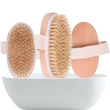 Natural Boar Bristles Dry Body Brush Wooden Oval Shower Bath Brushes Exfoliating Massage Cellulite T
