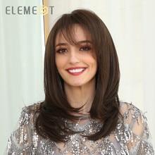 Parrucche marroni naturali diritte sintetiche di media lunghezza Element con frangia laterale parrucche resistenti al calore per donne bianche/nere