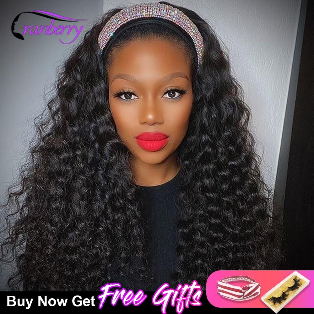 Cranberry Water Wave Headband Scarf Wig Glueless Human Hair for African American Women Affordable Headband Wig Beginner Friendly
