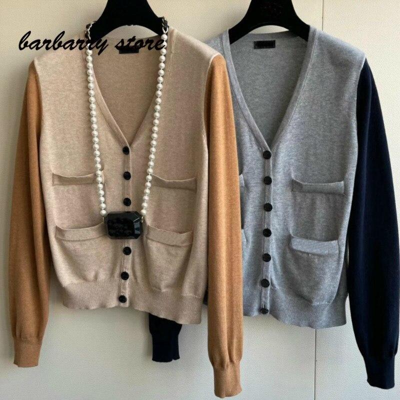 2021 luxury design contrast color splicing fashion women's long sleeve cardigan temperament versatile slim V-neck knitted jacket