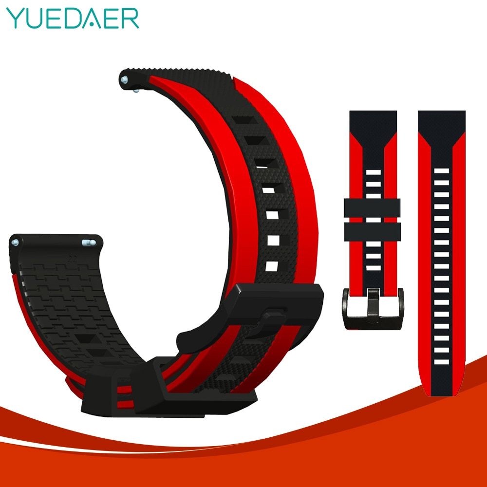22mm bracelet strap for xiaomi huami amazfit pace stratos 2 gtr 47mm band for samsung gear s3 pulsera for huawei 2 pro gt correa YUEDAER Silicon Wrist Strap For Xiaomi Amazfit Bip Lite/Stratos 2 3/Pace/GTS GTR 47MM 42MM Band For Huawei Watch GT 2 GT2 Correa