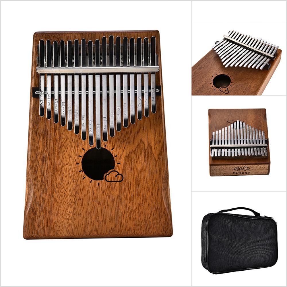 Piano + Bolsa Modelos de Nuvem Mogno Kalimba Mbira Polegar Teclado Instrumento Sanza 17-chave