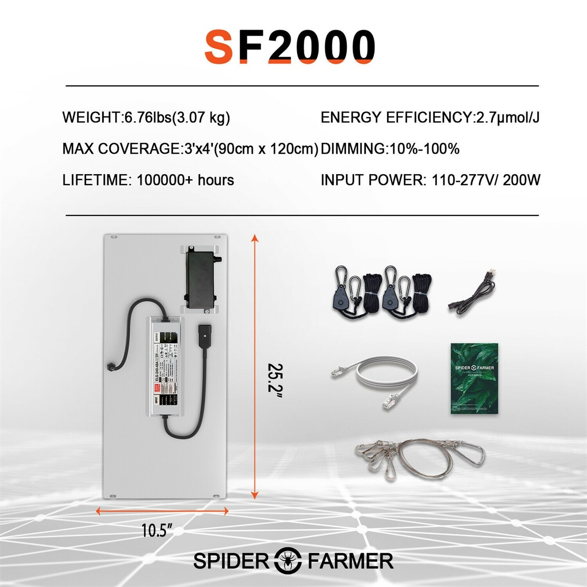 Spider Farmer SF 2000 LED Grow Light Full Spectrum Samsung Led LM301D Meanwell Dimmable Quantum Board Lamps for Indoor Tent Box enlarge