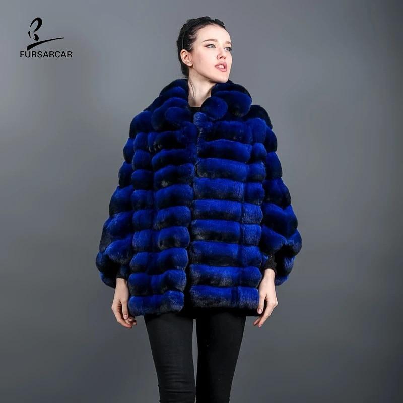 FURSARCAR جديد 2021 الفاخرة ريال ريكس الأرنب معطف الفرو الشتاء النساء سترة شينشيلا 70 سنتيمتر اللون الأزرق الطبيعي الأرنب الفراء أبلى