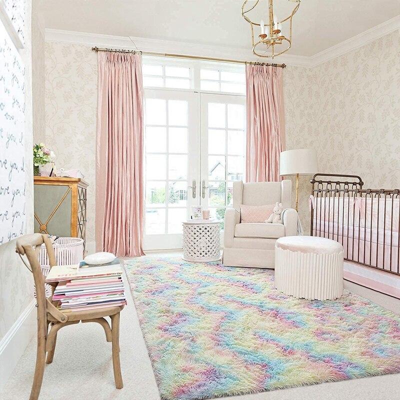 حار سوبر لينة عدم الانزلاق البساط ، قوس قزح سجادة خشنة الوبر ، السجاد الحديثة لغرفة المعيشة ، غرفة نوم ، غرفة الأطفال 90X160cm