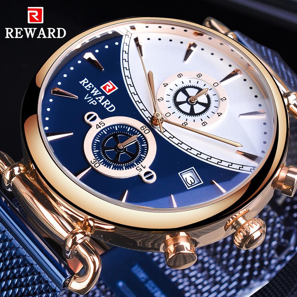 Reloj de pulsera de malla de acero azul de premio, reloj de pulsera de cuarzo de negocios para hombre con diseño a la moda, reloj masculino de lujo de marca superior