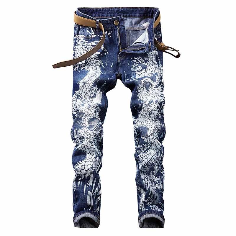 KIOVNO pantalones vaqueros informales pintados para hombre Pantalones vaqueros con estampado de dragón para hombre Hip Hop