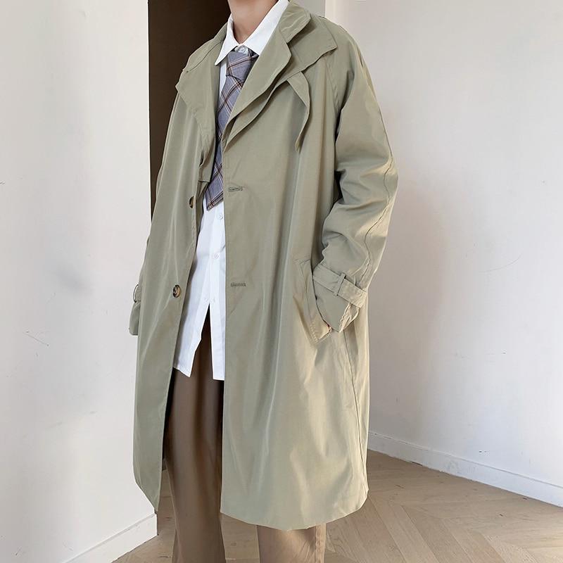 2021 мужские модные пальто-тренчи осенние мужские длинные куртки и пальто мужские повседневные однотонные облегающие ветровки зимние теплые...