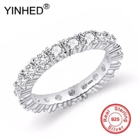 lose money sale yinhed real 925 sterling silver rings for women one single row full cz diamant wedding engagement ring zr628