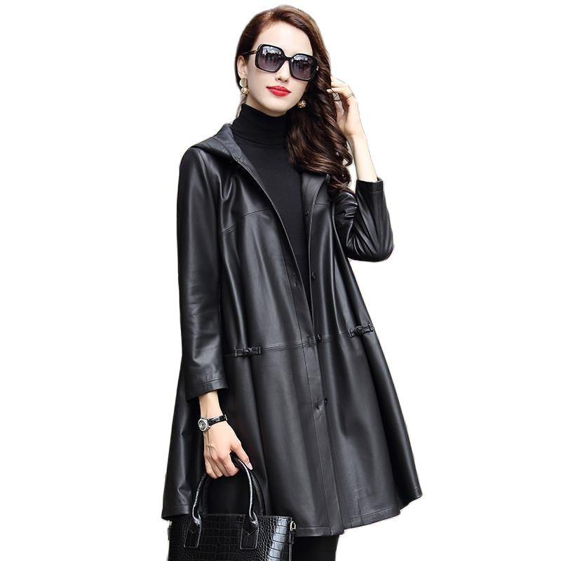 2021 wholesale genuine leather windcoat women's long sheepskin leather women's large size hooded coat women sheepskin jacket
