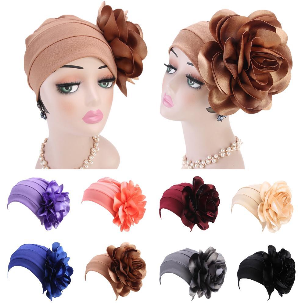 Chapéu muçulmano chapéu indiano flor turbante feminino beanie quimio câncer boné turbante headwear bandana cabeça capa de cabelo acessório