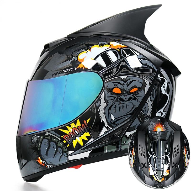 Casco de Moto todoterreno deportivo con cola de personalidad, Moto de cross, ATV, punto certificado, Casco para Motocross, motocicletas deportivas de 54-61CM