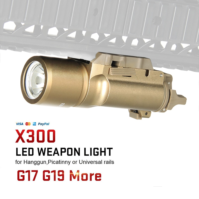 Tactical airsoft accessorie X300 LED Tactical Flashlight Pistol Weapon Light White Light Gun for Hunting gz15-0026