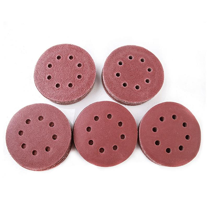 100pcs 5 Inch 125mm 8 Hole 40/60/80/120/240 Grits Round Shape Sanding Discs Buffing Sheet Sandpaper 8 Hole Sander Polishing Pad