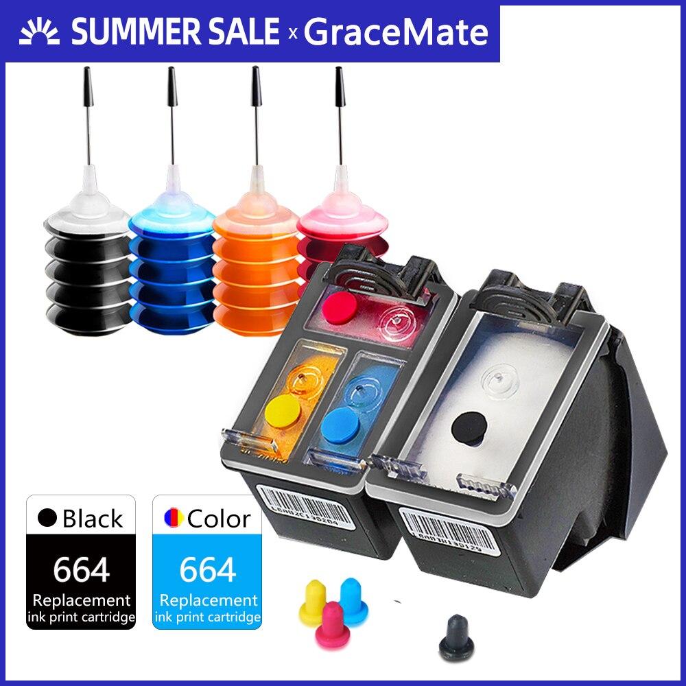 GraceMate rechargeable cartouche dencre de remplacement pour hp 664 xl noir et couleur DeskJet 1115 2135 3635 1118 2138 3636 3638 4536 4676