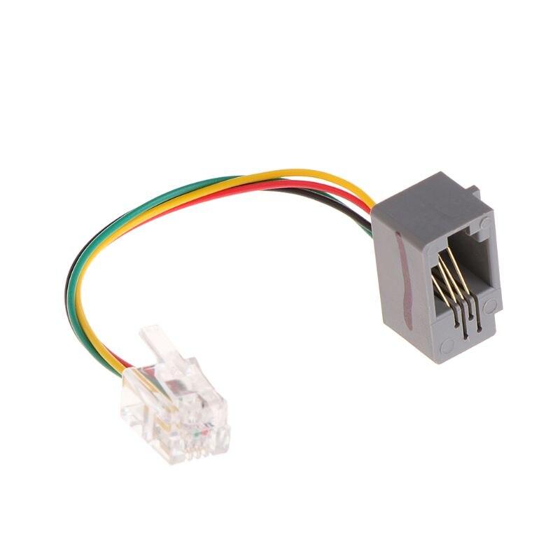 Conector de auriculares para teléfono inteligente de 3,5mm a RJ9/RJ10 Cable adaptador para teléfono de oficina LX9B