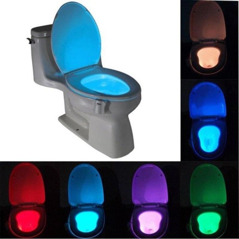 1 Uds. Portátil Home Hotel delicado ornamento Toliet luz de noche asiento impermeable taza de baño de plástico lámpara 8 colores Sensor de movimiento