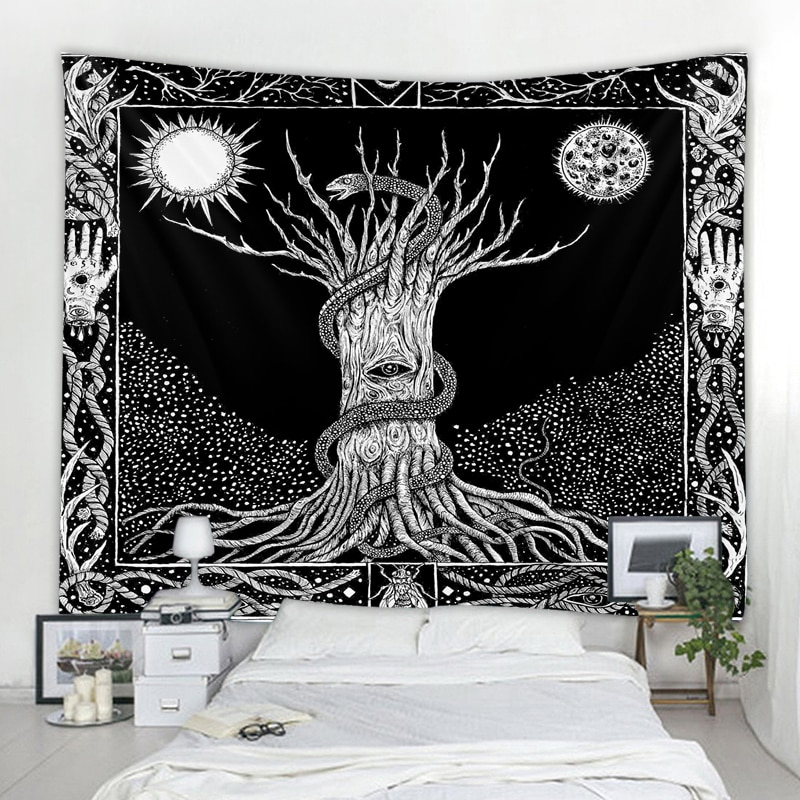 White And Black Tapestry Wall Hanging Witchcraft Wall Tapestry Hippie Wall Carpets Dorm Decor Psychedelic Tapestry psychedelic brick dorm decor wall hanging tapestry