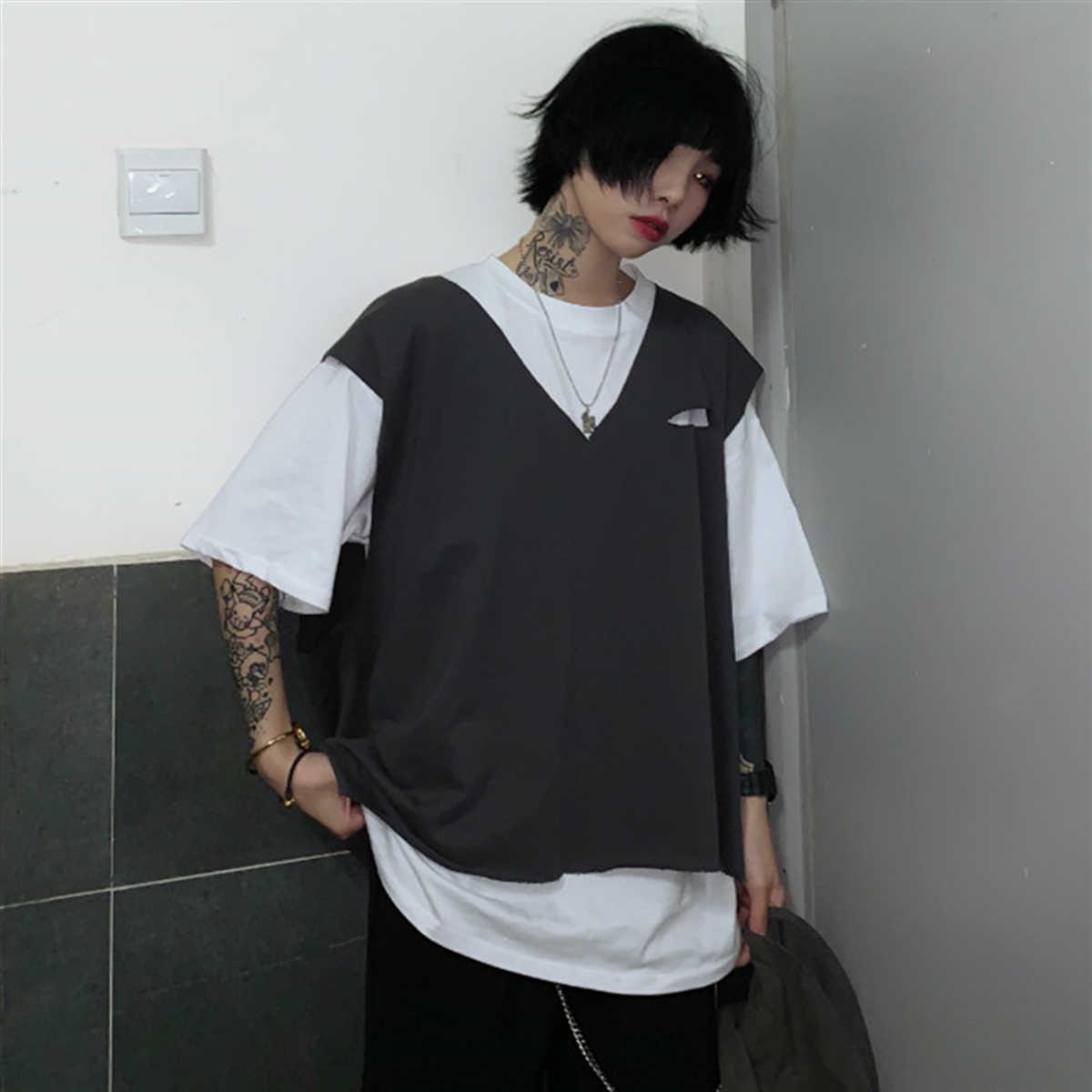 Korean Ins Internet Hot Suit Spring/Summer 2021 Loose All-Matching Short Sleeve T-shirt Top + Vest J