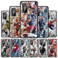 spiderman captain america for huawei p40 p30 pro plus p20 p10 lite p smart z 2021 2020 2019 luxury tempered glass phone case