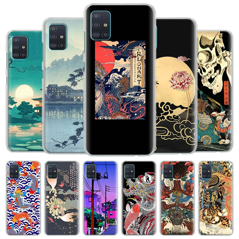 Funda de teléfono Coque para Samsung Galaxy A51 A71 A10 A10e A10s A20 A30 A40 A50 A70 S A91 cubierta dura estilo japonés arte Japón