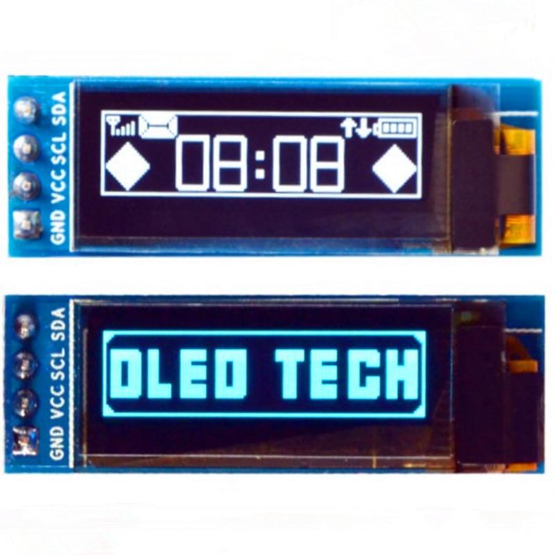 "0,91 ""Módulo de pantalla OLED 128x32 píxeles de resolución azul/blanco personajes 4pin I2C interfaz IIC SSD1306 conductor"
