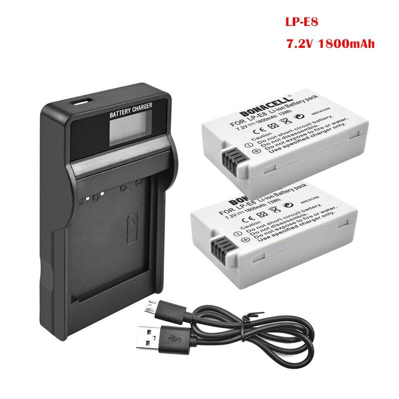 Bonacell 1800mAh LP-E8 LP E8 baterías batería cargador para Canon rebelde T2i...