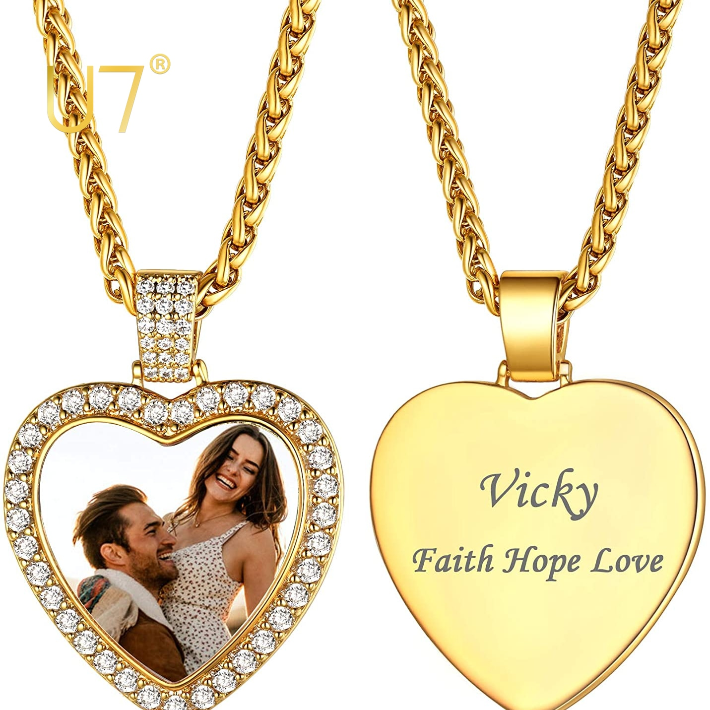 U7 Custom Photo Necklace Men Women Stainless Steel Jewelry Personalized Gift Customized Any Picture Heart Pendant