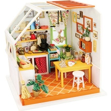 DIY Doll House Miniature With Furnitures Wooden House Puzzle Toys Manual Assembly Model For Children