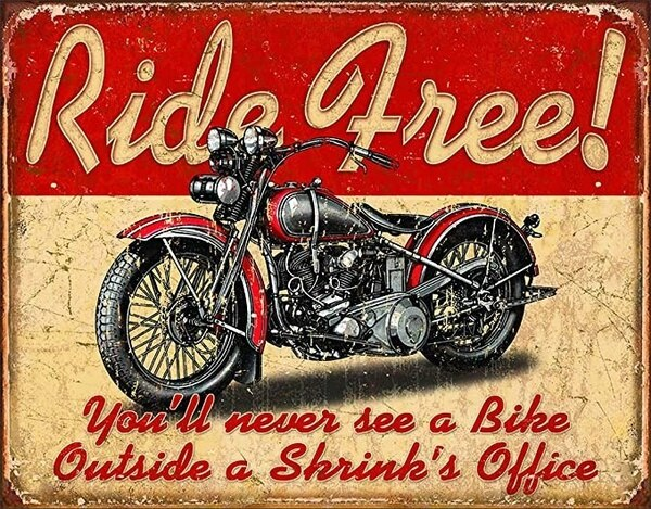 Ride Free Metal Tin Sign Home Decoration Wall Stickers  Outdoor Decor Room Men Accessories Modern