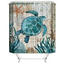 Cortina de ducha de poliéster para baño de tortugas marinas, cortina de baño impermeable, accesorios de baño MYDING