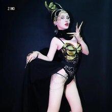 Body noir ensembles glisser reine Sexy femme boîte de nuit barre pour femmes chanteur vêtements gogo spectacle Costumes scène danse concert tenue