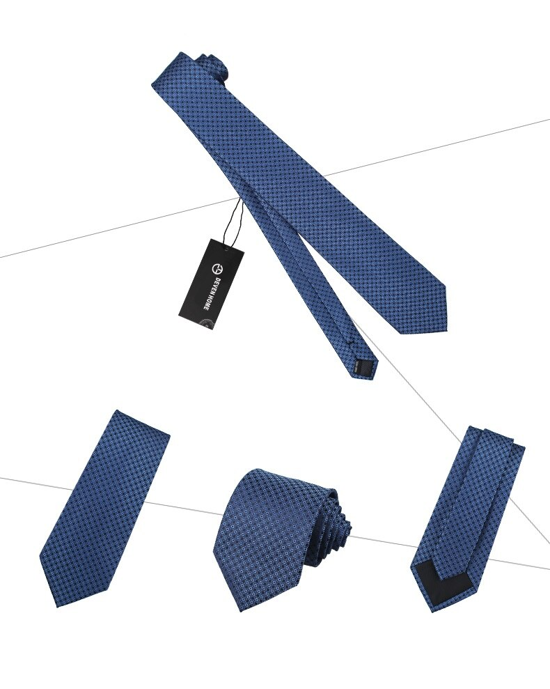 High Quality 2020 Designer New Fashion Navy Blue Plaid Circle 8cm Ties for Men Necktie Work Business Formal Suit with Gift Box