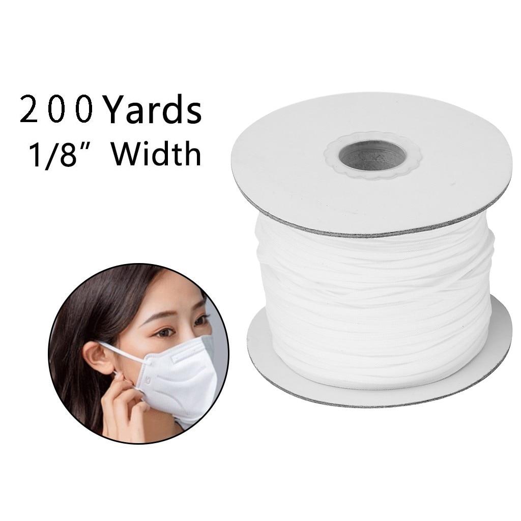 200Yards Spool Sewing Band Flat Elastic Cord White/Black DIY Handmade Sew Materials Elastic Band for for Sewing Craft DIY Mask