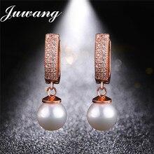 JUWANG 2020 Heißer Design Luxus Reine Imitation Perle Clip Ohrringe für Frauen 1 Reihe Bling Zirkonia Ringle Drop Ohrringe Bizuteria Ohrclips    -