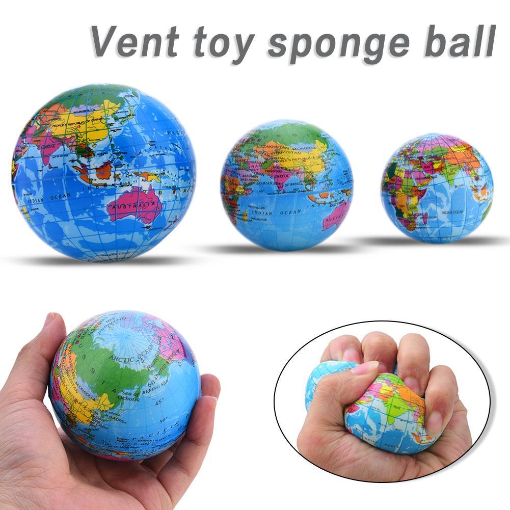 6-10 Cm Pu Slime Squish Spons Bal Grappige Foam Bouncy Bal Tellurion Voor Volwassen Decompressie Wereldkaart Rebound Speelgoed