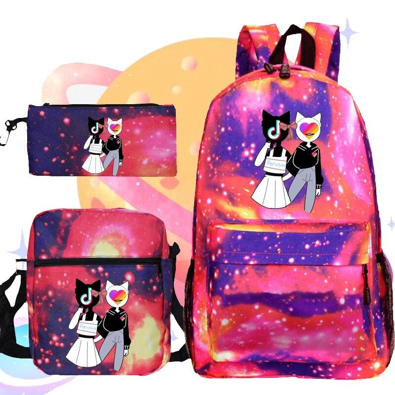 Likee 3 шт./комплект, рюкзак, русская мода, школьный рюкзак с сумкой для ручек, сумка на плечо Likee, многофункциональная сумка для начальной школы