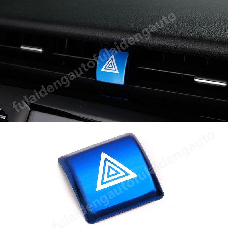 Para Toyota Camry 2018-2020 interruptor de luz de freno de emergencia Botón de advertencia marco cubierta embellecedores de acero inoxidable pegatina accesorios de coche