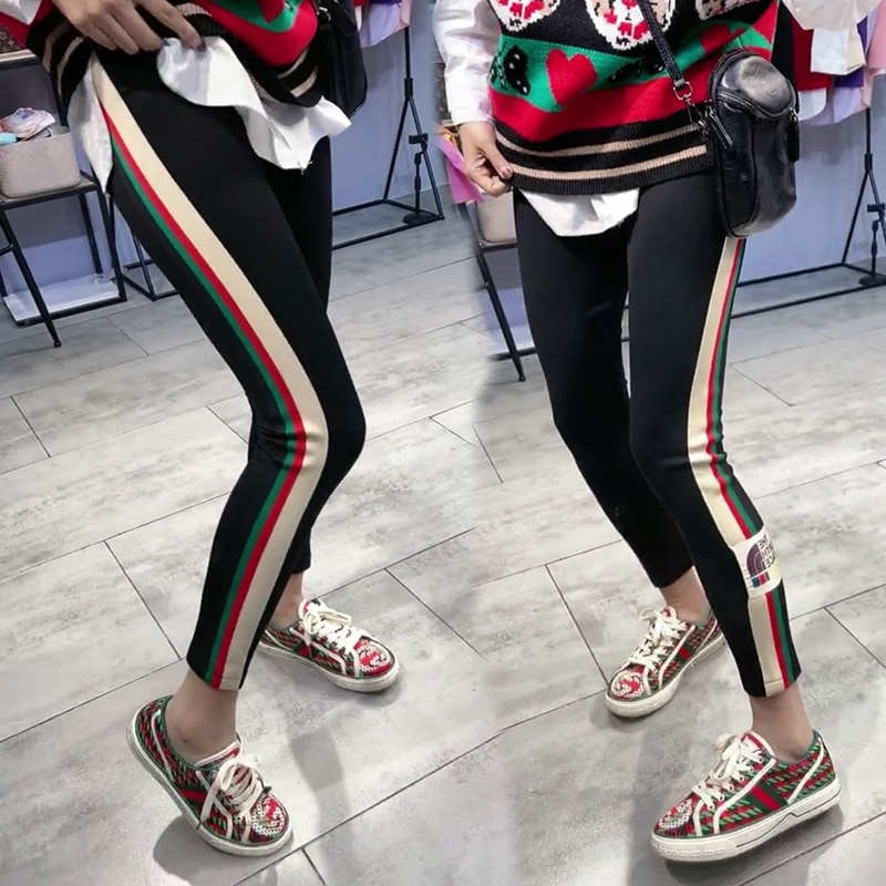 2021 Spring New Style Fashion Outer Wear Contrast Color Labeling Lettered Leggings High-Waisted Tight Capri Pants