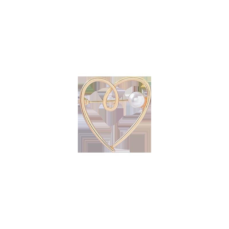 Mochila De broche de perla en forma de corazón de melocotón moderna, amantes de la insignia para Camisa vaquera, accesorios de joyería, regalo