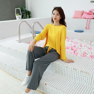 2021 Long Sleeve Modal Women Loungewear Pajamas Two-piece Set O-neck Solid Loose Thin Summer Homewear T Shirt Hedging Tops Woman