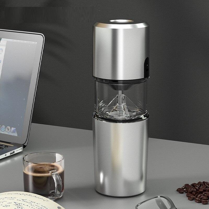 الفضة طاحونة القهوة الكهربائية الصغيرة الفولاذ المقاوم للصدأ اليد دليل القهوة الفول لدغ المطاحن مطحنة أداة المطبخ المطاحن