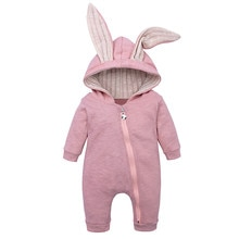 (3M-18M) Baby Long Sleeve Solid Color Zipper Hooded Rabbit Ear Jumpsuit Romper Winter Warm Comfortab