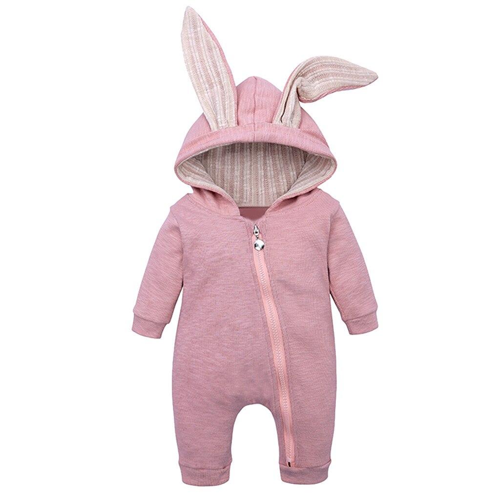 (3M-18M) mono de bebé de manga larga de Color sólido con cremallera con orejas de conejo mono de invierno cálido cómodo mono ropa de bebé S4