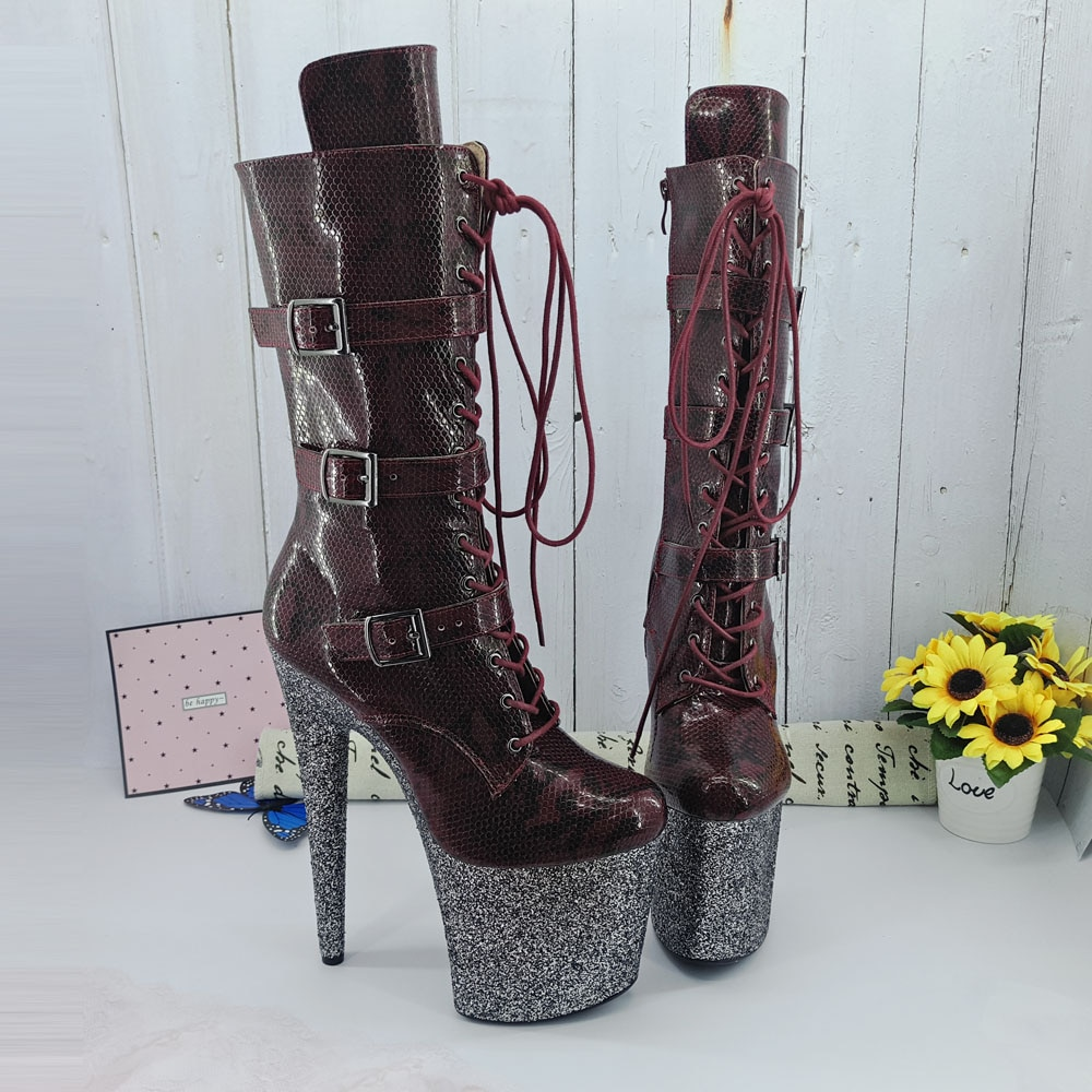 Leecabe  Burgundy snake 20CM/8inches Pole dancing shoes High Heel platform Boots closed toe Pole Dance boots