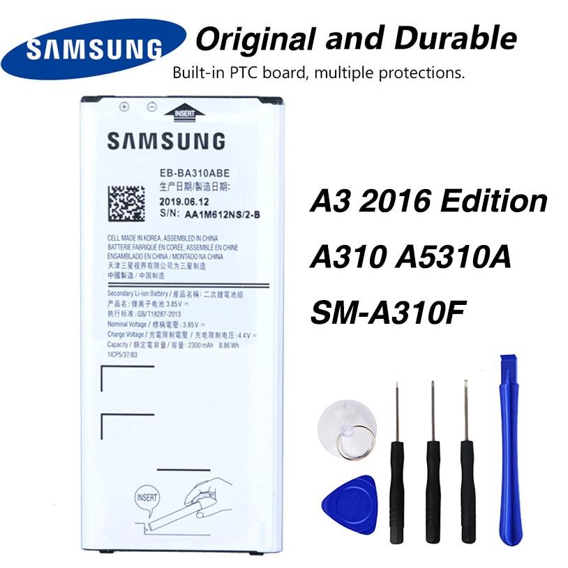 Original Samsung EB-BA310ABE batería para Samsung GALAXY A3 edición 2016 A310 A5310A SM-A310F A310F NFC 2300mAh