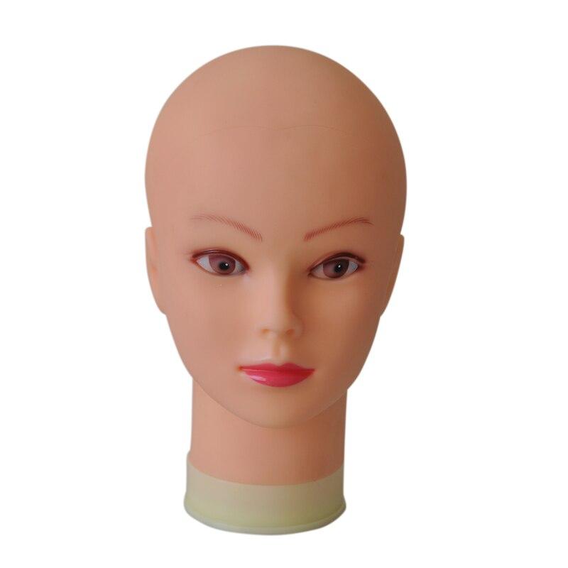 Cabeza de maniquí calva de 55cm con soporte de mesa negro cabeza de Maniquí de mujer para hacer peluca sombrero de exhibición maniquí