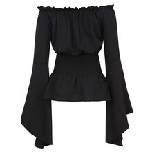 Blusa de manga larga para mujer, camisa Medieval renacentista, victoriana, Pirata, gótica, Retro, con hombros descubiertos, Top, disfraz